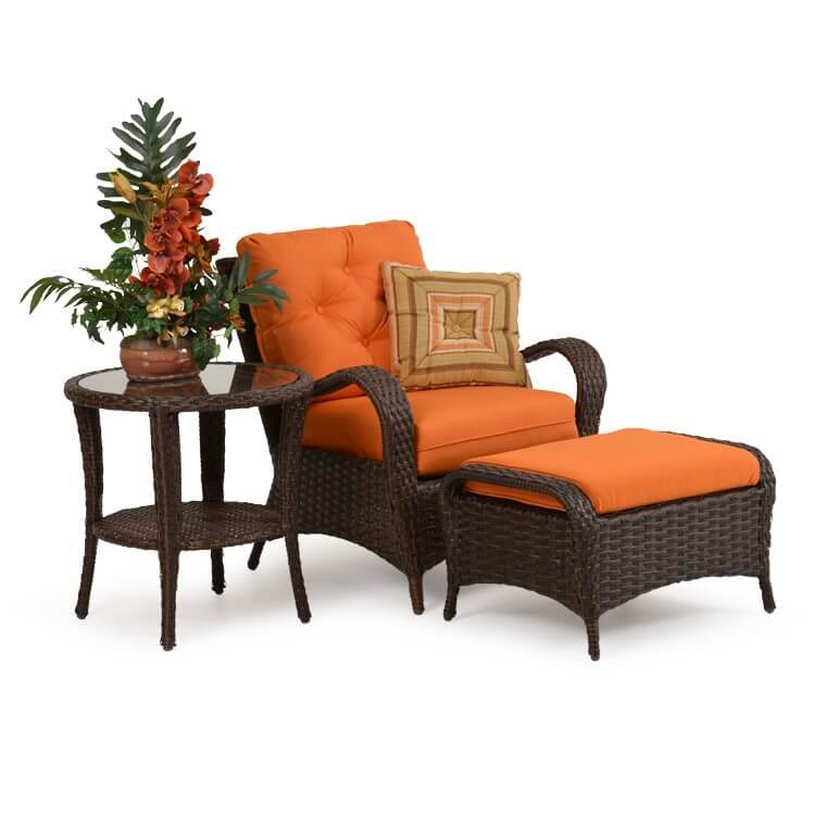 Patio armchair with matching ottoman (brown and orange)