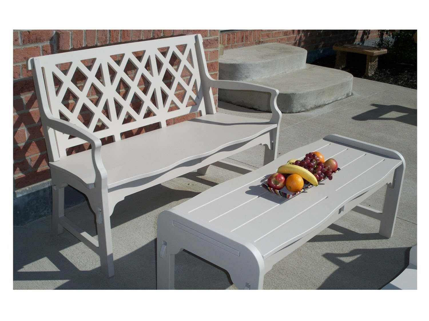 White Patio Wood Bench With Matching White Coffee Table