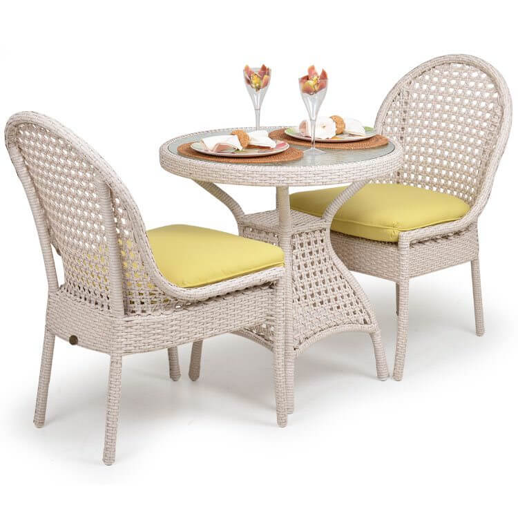 Light pink small patio dining table for two