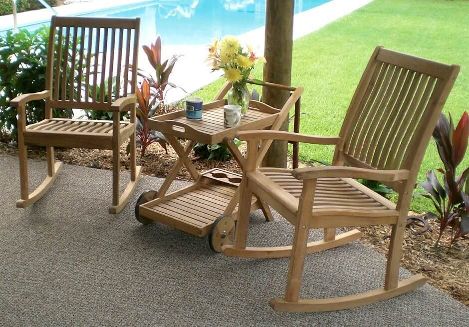 Light wood patio chairs with rolling coffee table and serving tray