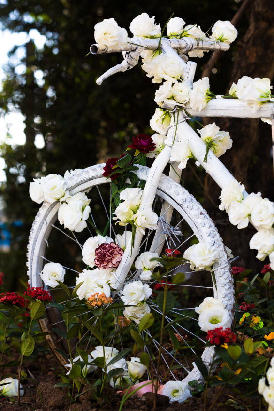 The ultimate wedding bicycle decorated in white flowers.