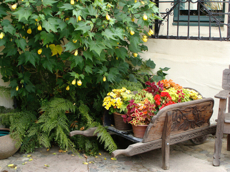 Ornate wood wheelbarrow planter with carvings on walls and handle.