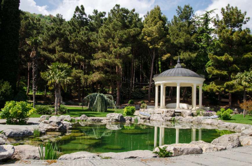 Over this verdant pound sits a round gazebo, providing a fantastic place to sit and take in the scenery.