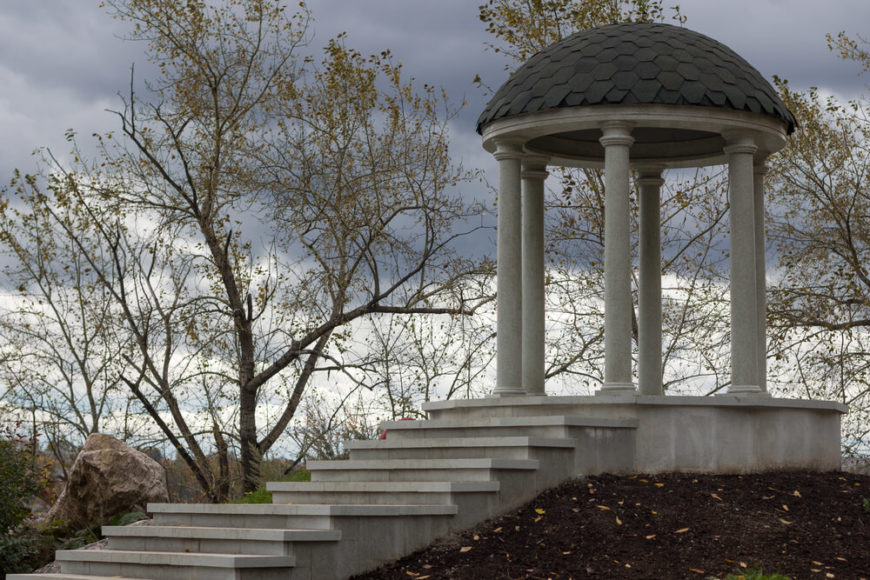 Placing a gazebo on the top of a hill or an elevated location gives your gazebo an overlook advantage where you can peer out over your property and nature as a whole.