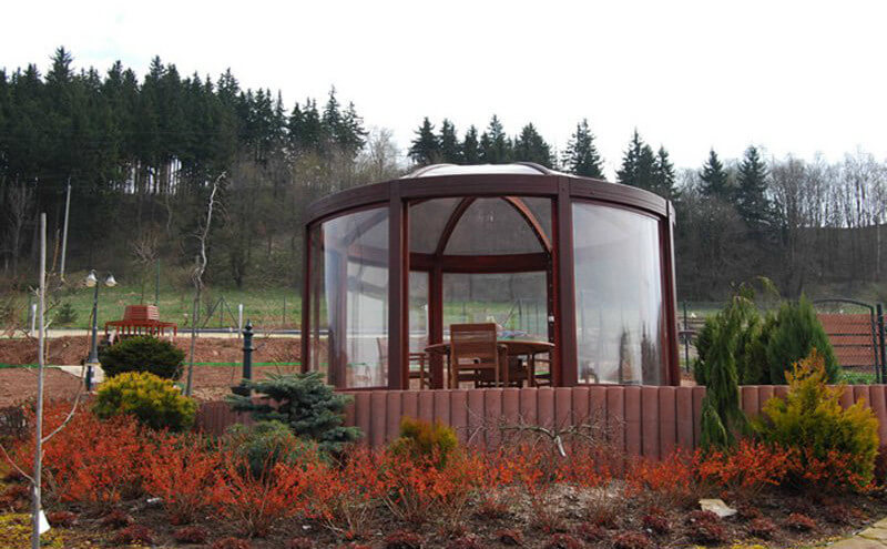 This Gazebo Has Large Glass Panels And A Glass Dome As A Roof. This Unique