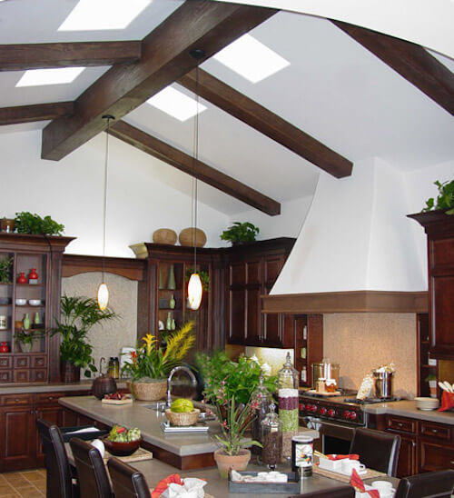 Kitchen Lighting High Ceiling Beams
