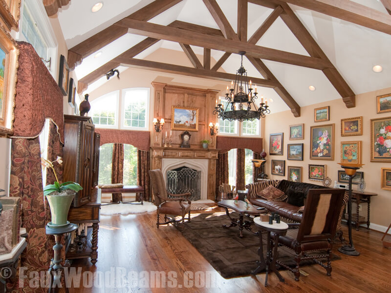 15 faux wood ceiling beam ideas photos for Exposed wood beam ceiling
