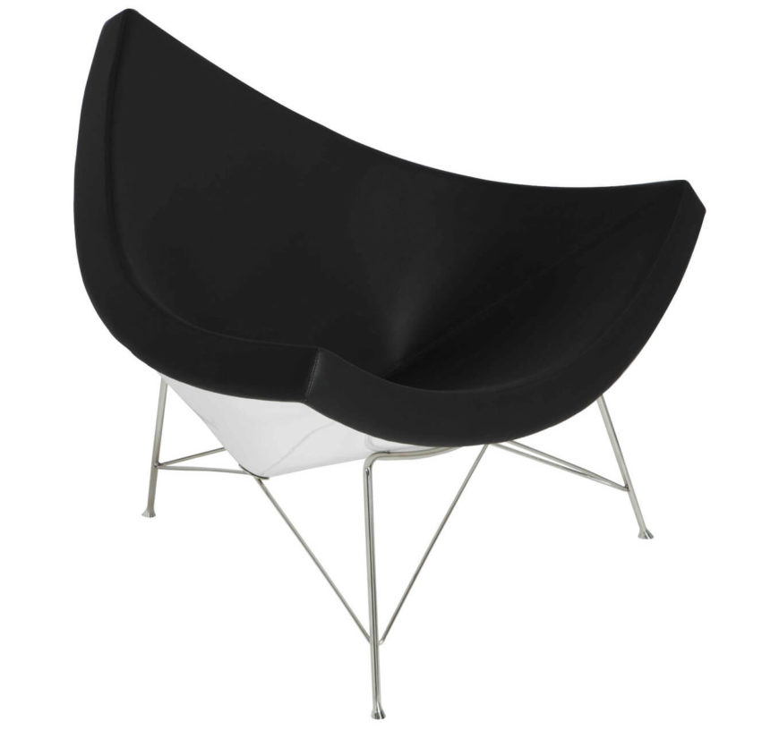 Here is a another example of the coconut chair with the classic color pattern of the white on the outside and the black on the inside. This chair will swallow you up and make you never want to leave.