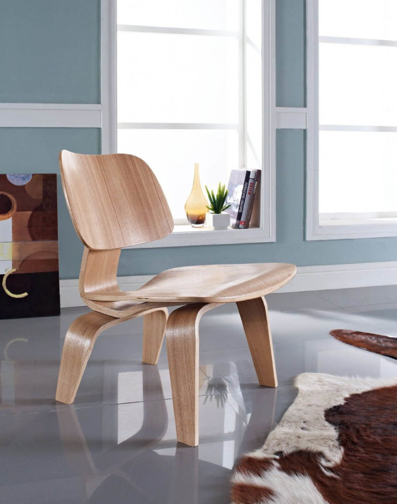Here is a lovely example of the LCW chair in a clean and minimal space. This chair fits well almost anywhere and offers comfortable seating for anyone looking to sit and engage in social activities.