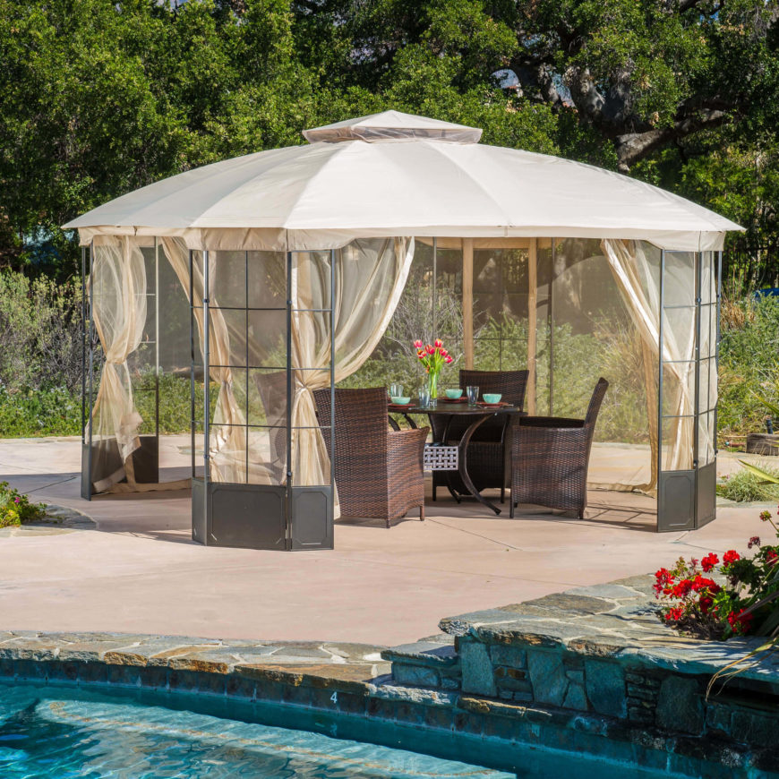This elegant and stylish design is the perfect patio gazebo to add style to your backyard area. The metal frame, cloth top, and sheer curtains give this gazebo a nice elegant appeal.