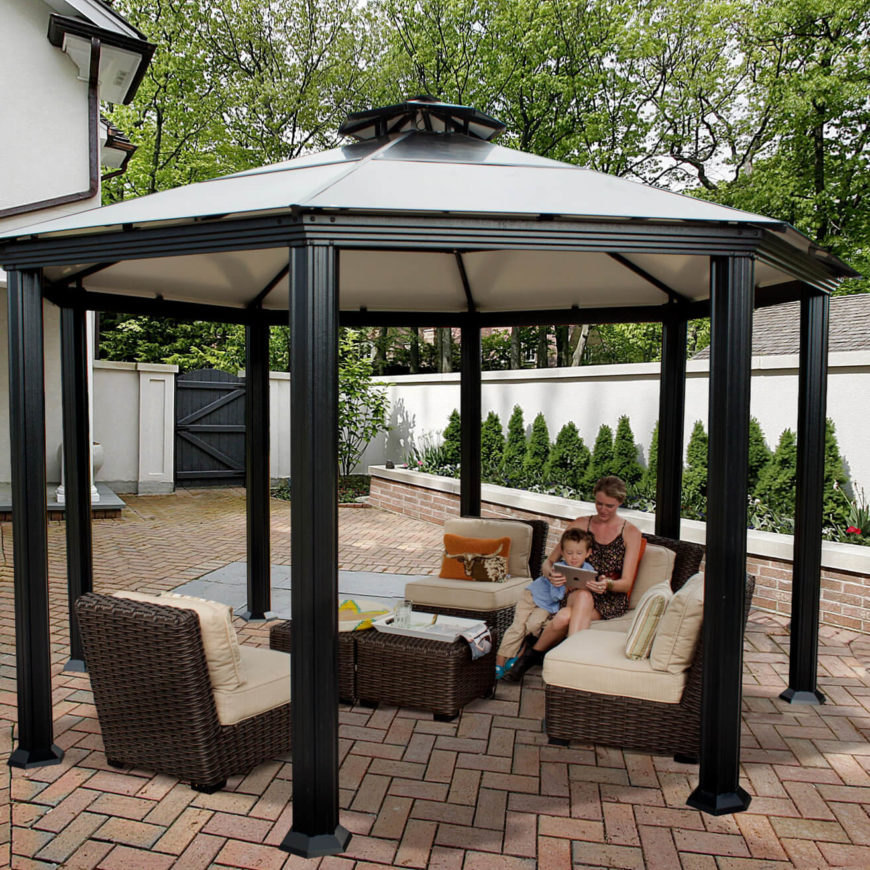 Here Is A Shady Octagonal Gazebo That Can Be Placed Over Any Set Of Patio  Furniture