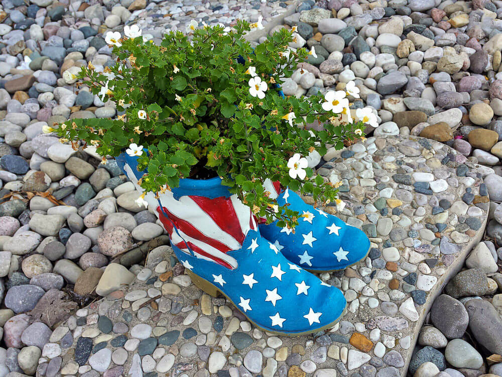 This pair of boots brightly painted with an American flag, standing as planters to white-colored flowers, is a sight to behold in a sea of pebbles and stones.
