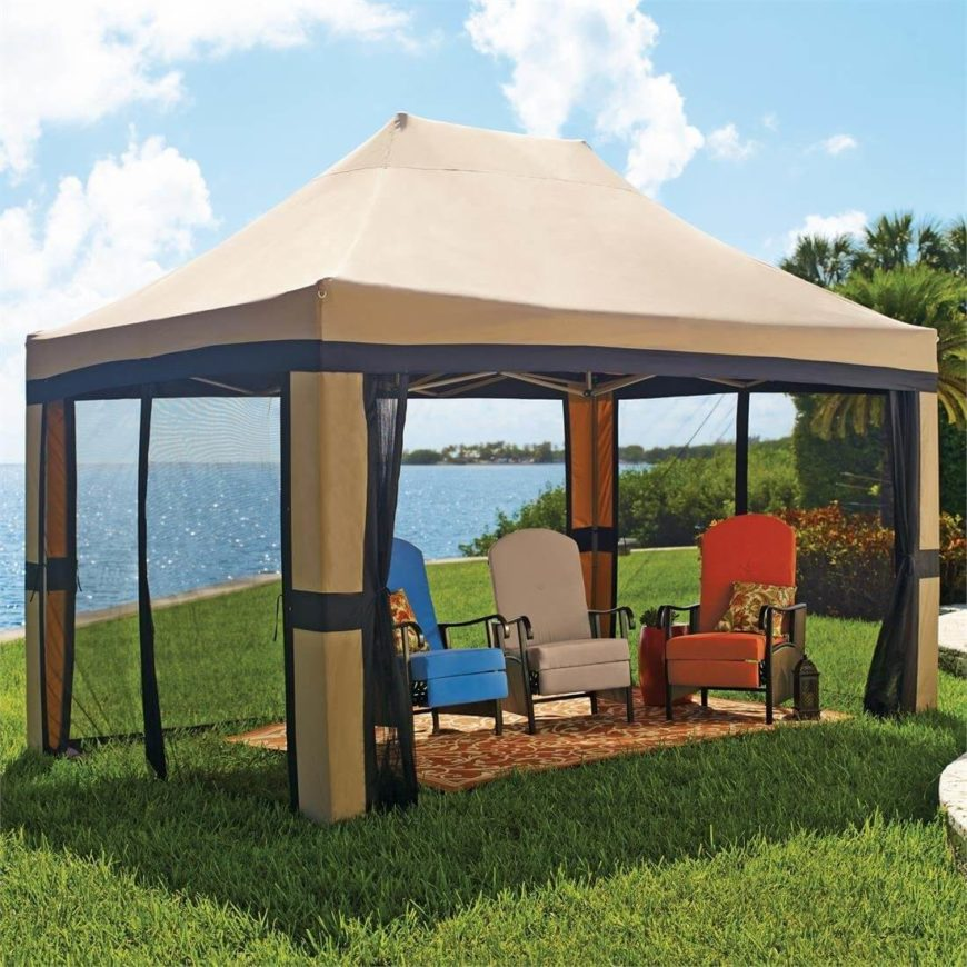 This is a great example of a pop-up gazebo. The vaulted canvas roof gives the structure more of an imposing presence, while also allowing air to circulate above, keeping the gazebo from feeling hot and stuffy when the screened panels are closed.
