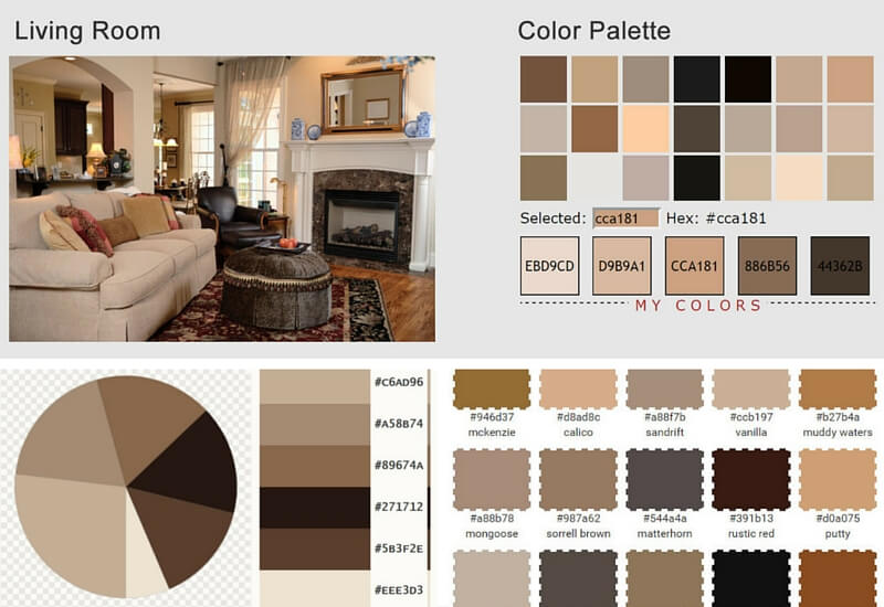 Earthy Living Room Colors living room color scheme: vanilla, sorrell brown, rustic red & tan