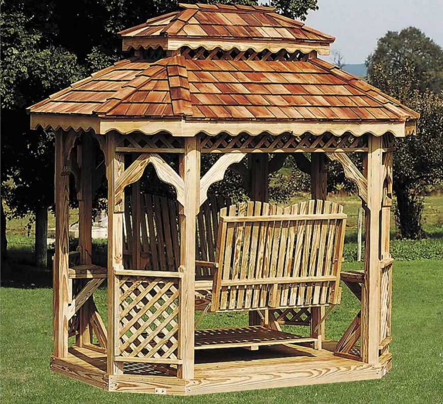 Gazebos can hold almost any kind of furniture. This particular gazebo is equipped with a relaxing swing that will have you feeling at ease. You can let an afternoon slip by in this gazebo.