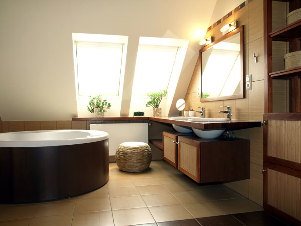 Contemporary Bathroom with Wood Vanity and Freestanding Soaking Tub