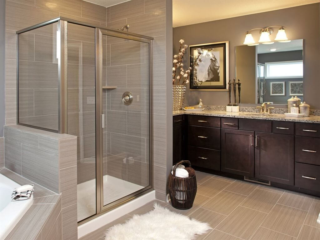 Contemporary Bathroom with Large Shower and Soaking Tub