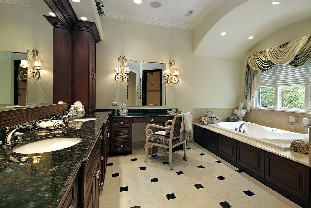 Spacious Bathroom with L-shaped Granite Vanity