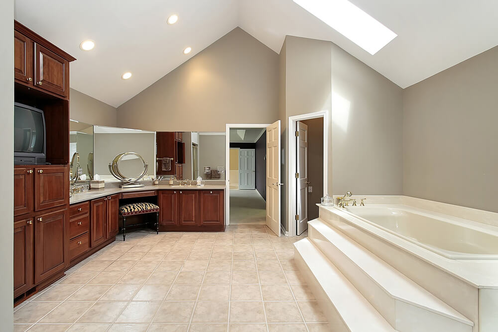 30 bathrooms with l shaped vanities for Room with attached bathroom designs