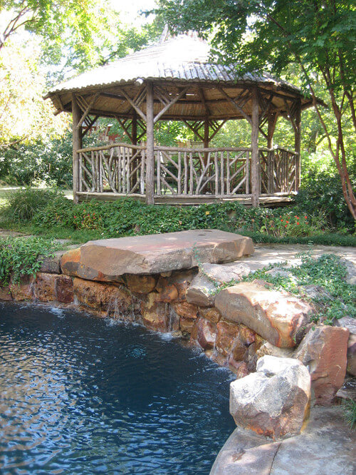 This large gazebo can hold a few picnic tables. With a gazebo like this, you can host large gatherings in comfort; no one will be left out of the shade.