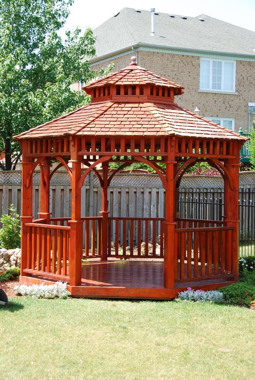 Since wood can be stained or colored in any way you wish you can modify the look of the wooden gazebo to fit your style. This richly colored gazebo is finished and stained to give a vibrant look that stands out and makes an impression.