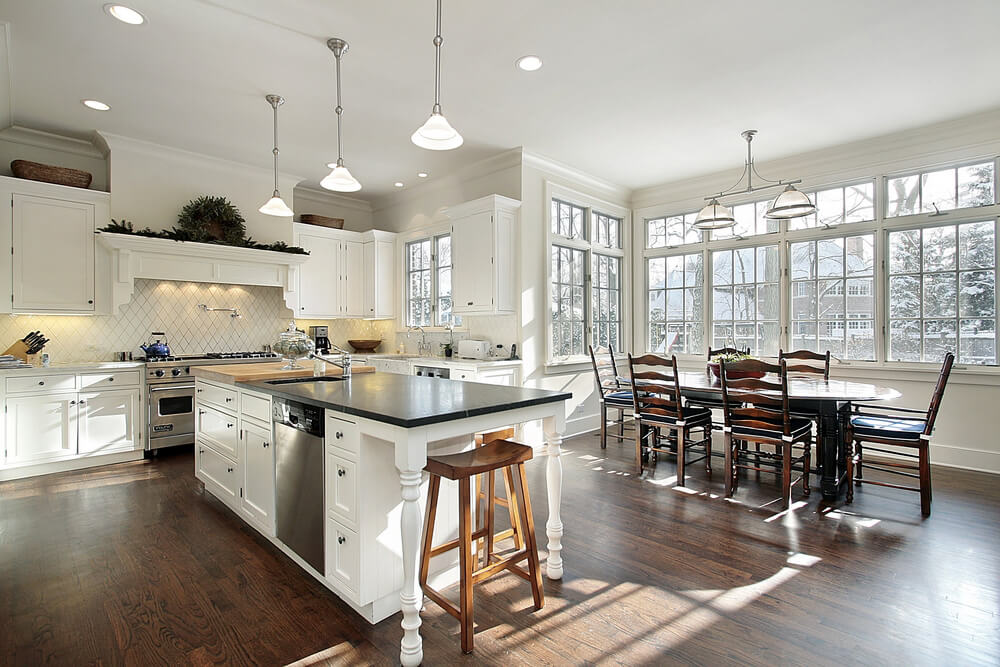 Spacious Open Concept White Kitchen