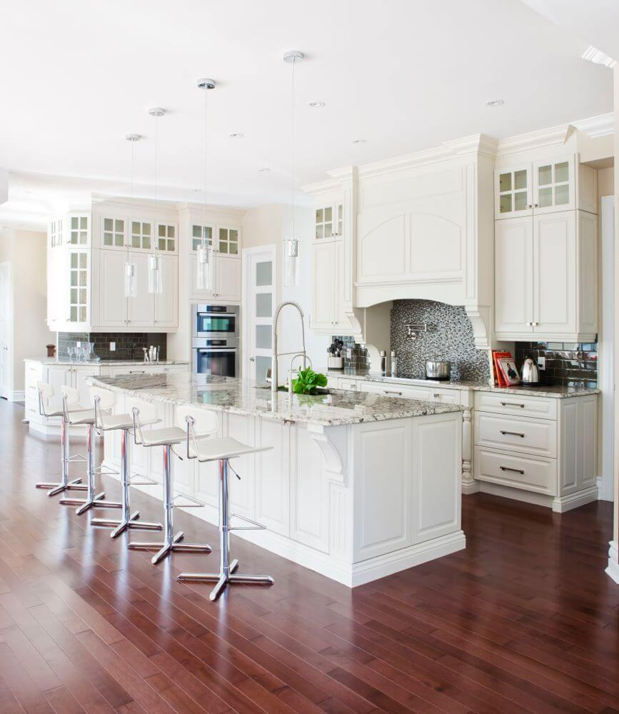 White Kitchen With Contrasting Backsplashes