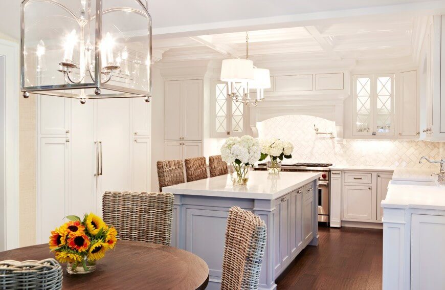 Gold Pendant Lights Over Kitchen Island