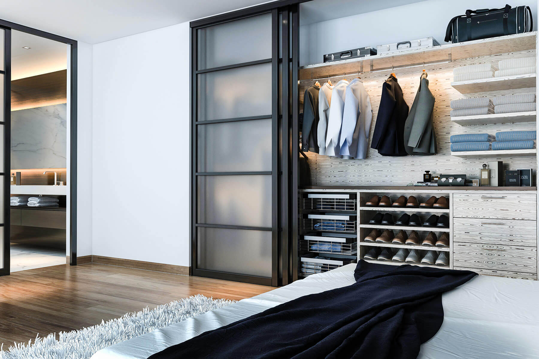 This handsome and modern closet organizer is very masculine, with its straight, bold lines and pale neutral-toned woodwork. Everything, from the immaculate suit jackets to the travel duffel bags are organized exactly in place. This closet style is perfect for a bachelor who prioritizes organization over flashiness.