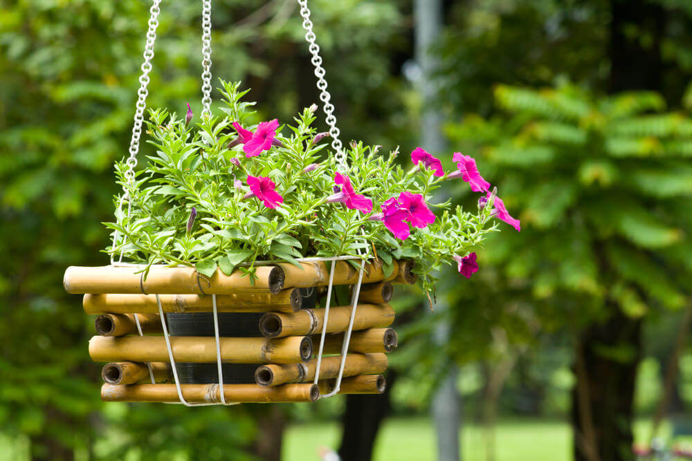 70 hanging flower planter ideas photos and top 10 home stratosphere this hanging basket is an example of a small bamboo basket used to hold the flowerpot mightylinksfo
