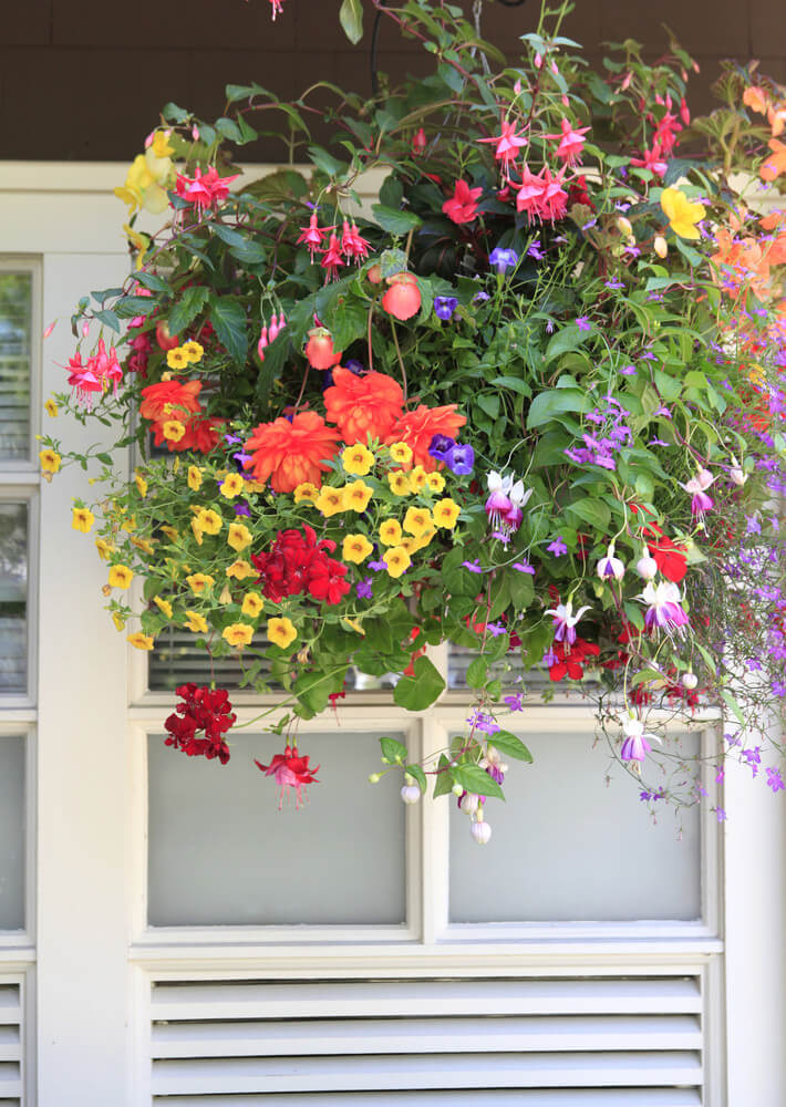 70 hanging flower planter ideas photos and top 10 home stratosphere example of a large hanging flower basket with a wide variety of flower types and colours mightylinksfo