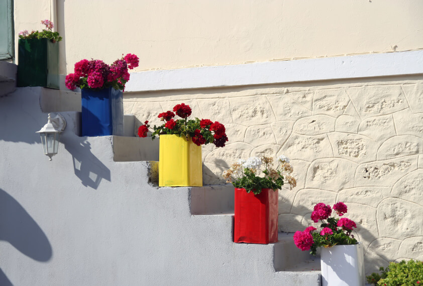 These are oil cans and most of the times they end up in the trash. However, these cans can be pretty and up-cycled when painted in blue, red, white, green, and yellow and planted with colorful flowers. See how nice they look sitting proudly on the steps?
