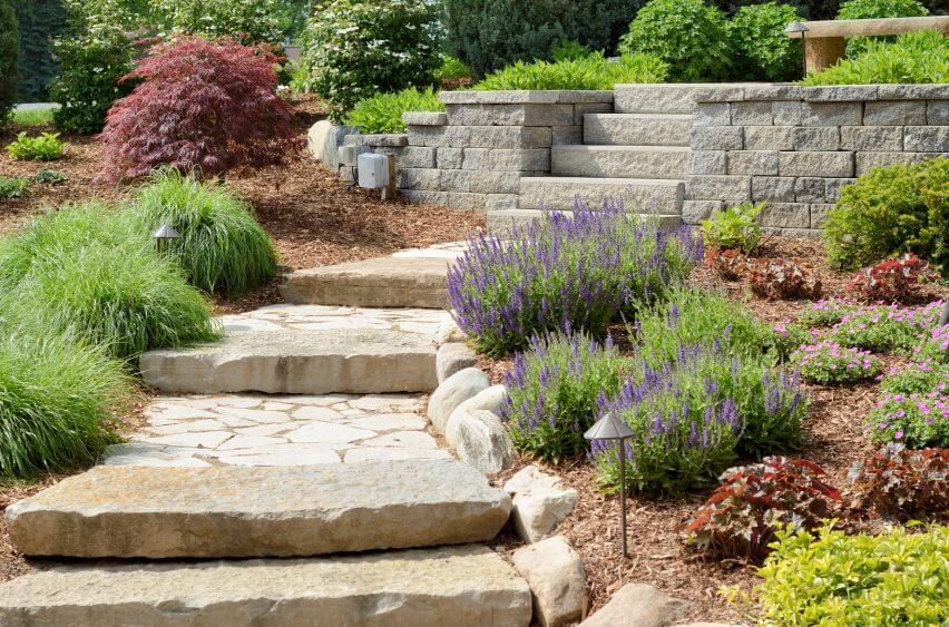60 outdoor garden landscaping step ideas large paving slabs and paved concrete lead to this outdoor garden cutting through perennial flowers workwithnaturefo