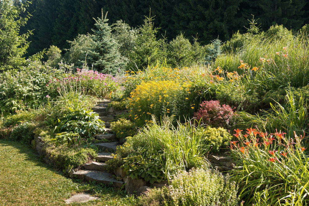 Stone Garden Steps 60 outdoor garden landscaping step ideas slabs of stone garden steps snake its way through this garden of flowered shrubs and pines workwithnaturefo