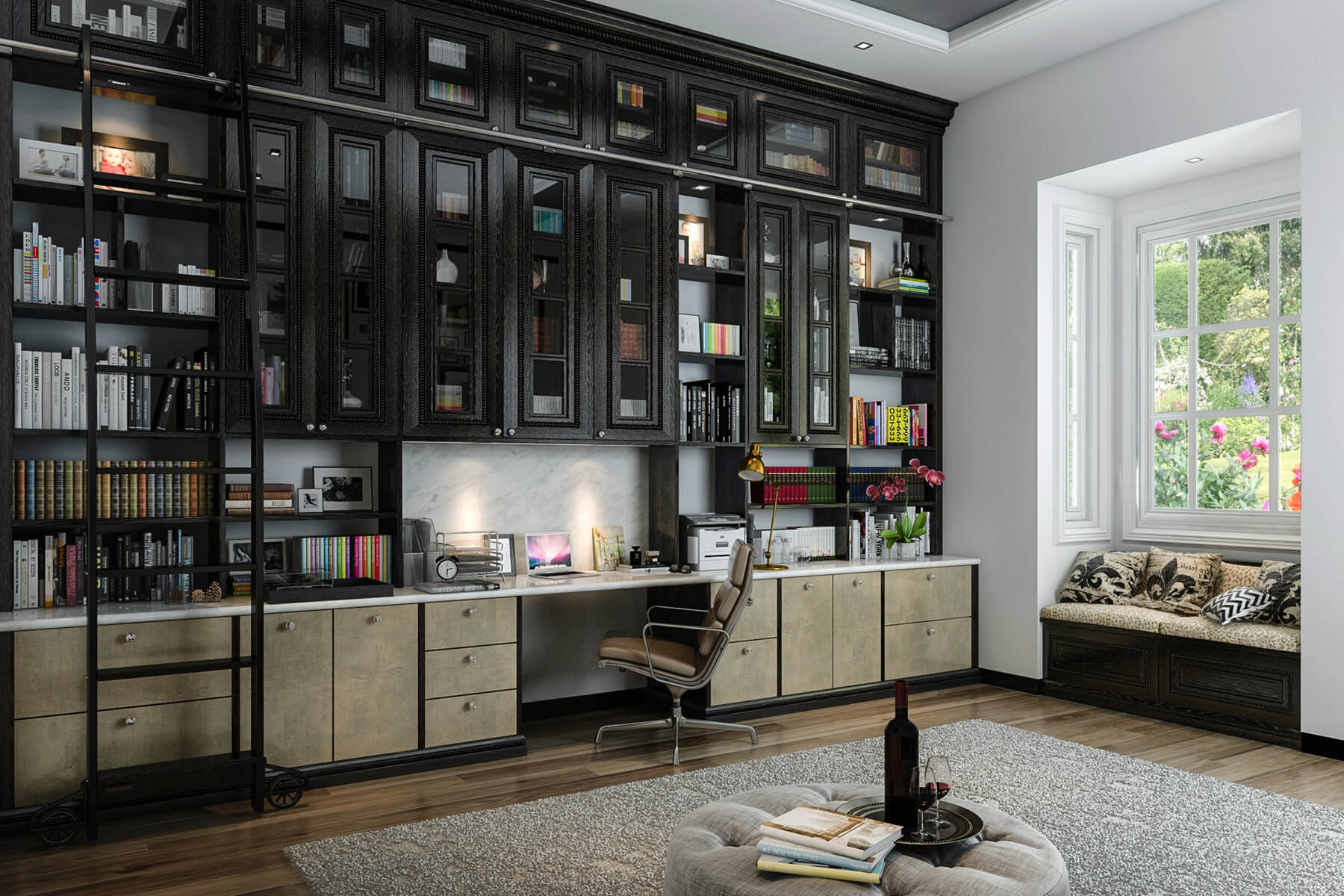 home office with custom built in bookshelves spanning entire wall - Custom Home Office Designs
