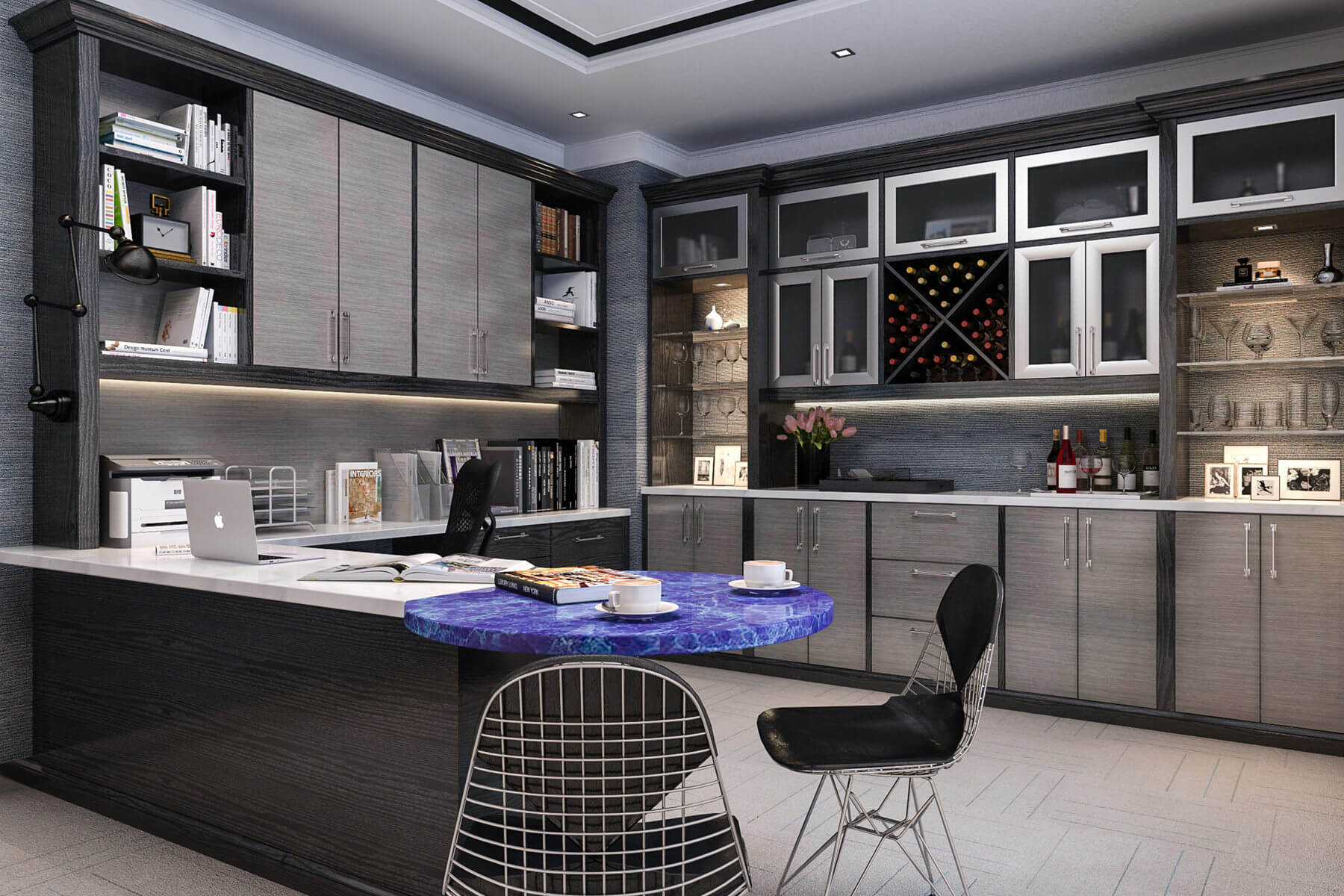 Hereu0027s A Huge Contemporary Home Office With Loads Of Cabinetry As Well As A  Wet Bar