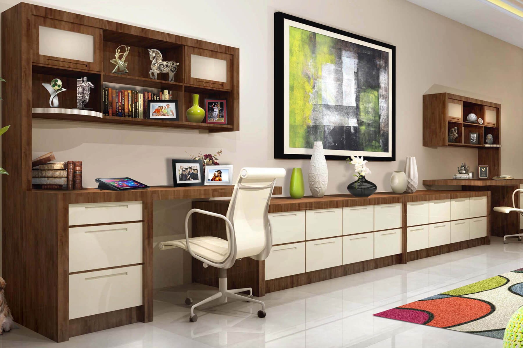 Multi-Workstation Home Office with Custom Built-In Filing Cabinets