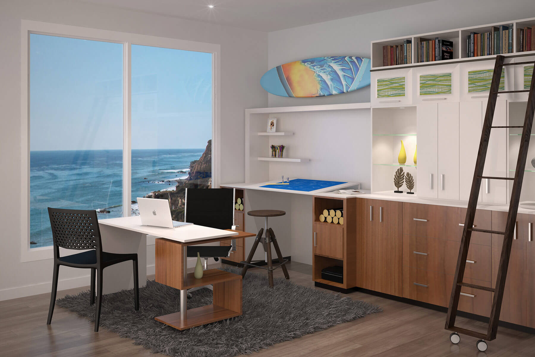 gorgeous modern office with view of the ocean
