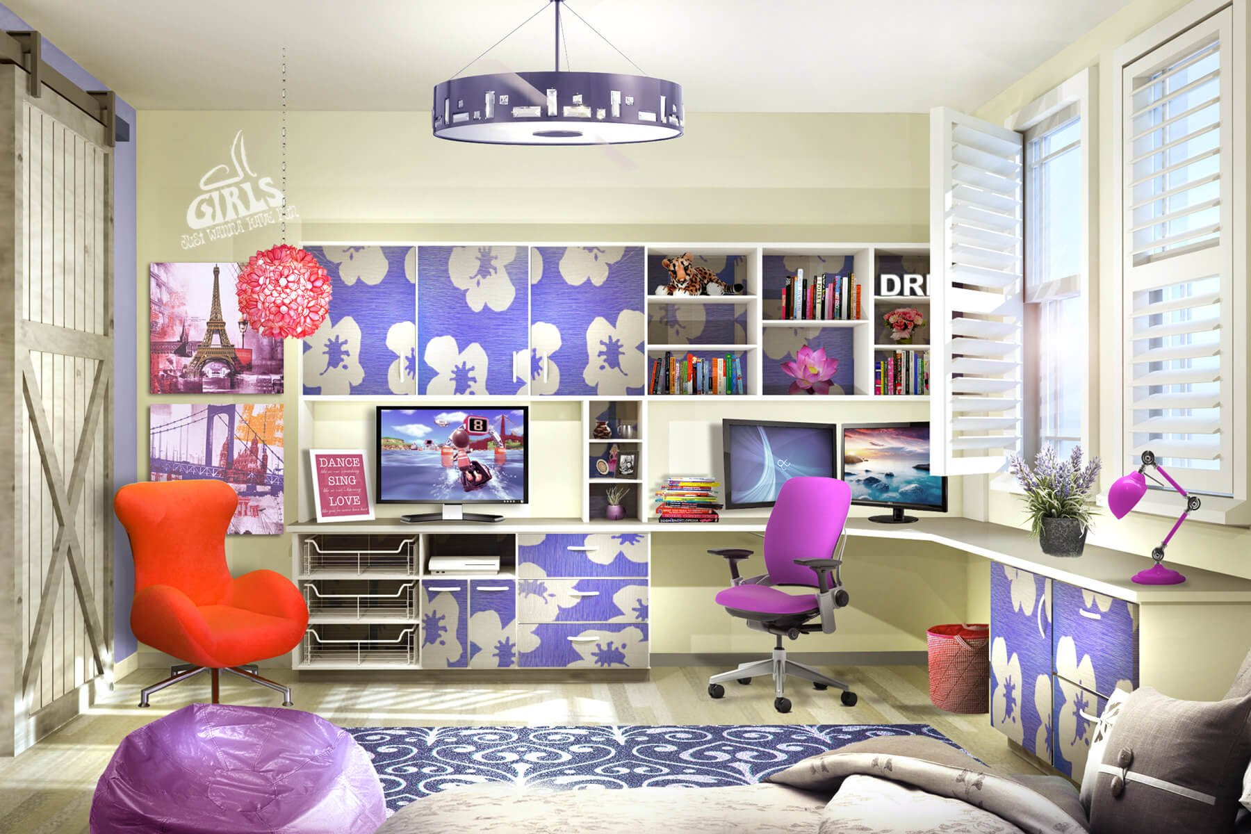Large Colorful Home Office with L-Shaped Built-In Desk