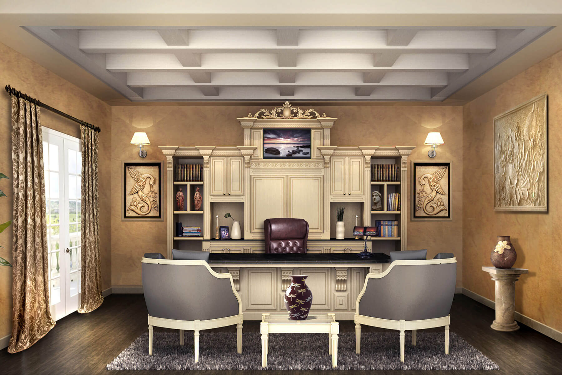 custom home office furnit. stunning custom double sided desk and credenza home office furnit a