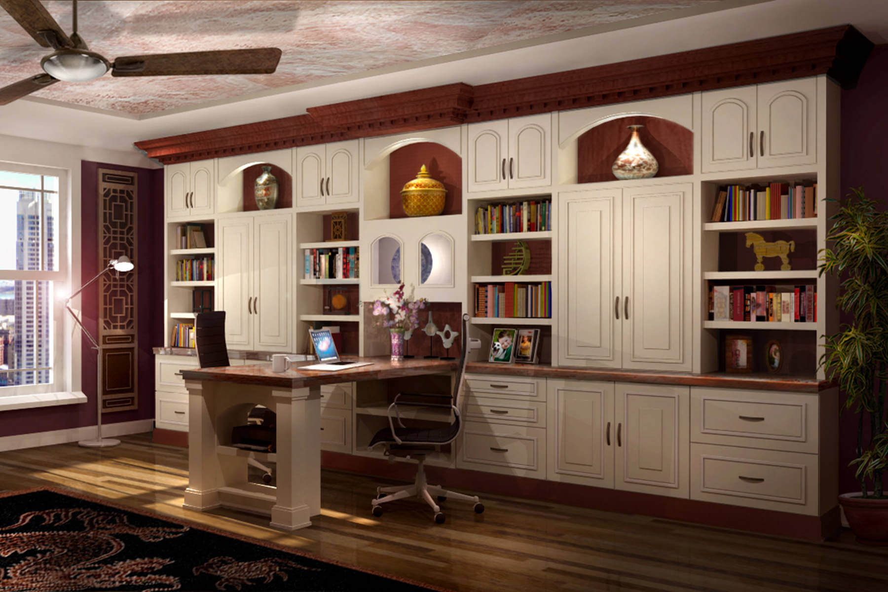 massive custom home office storage unit with extension desk from the wall - Custom Home Office Designs