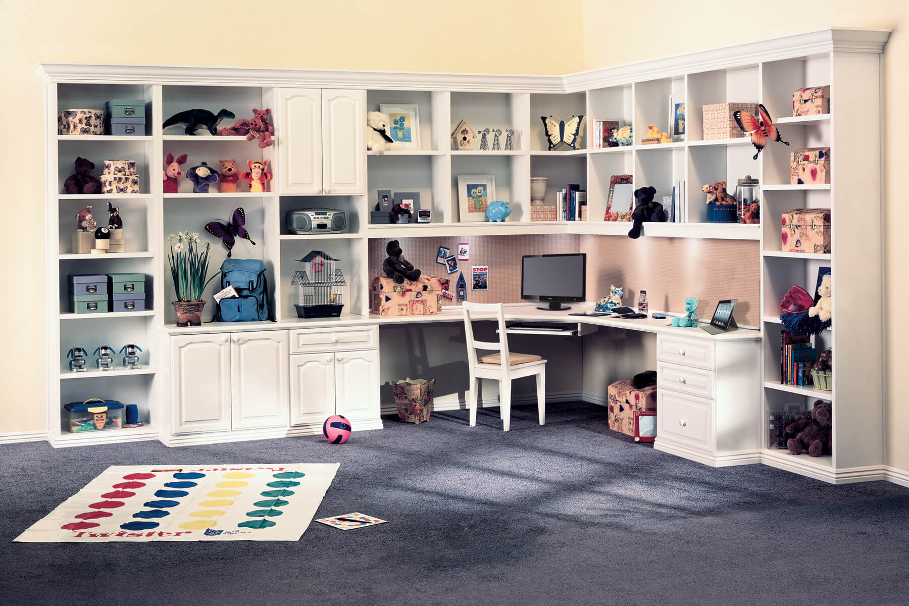 custom home office for kids and teenagers with built in corner desk