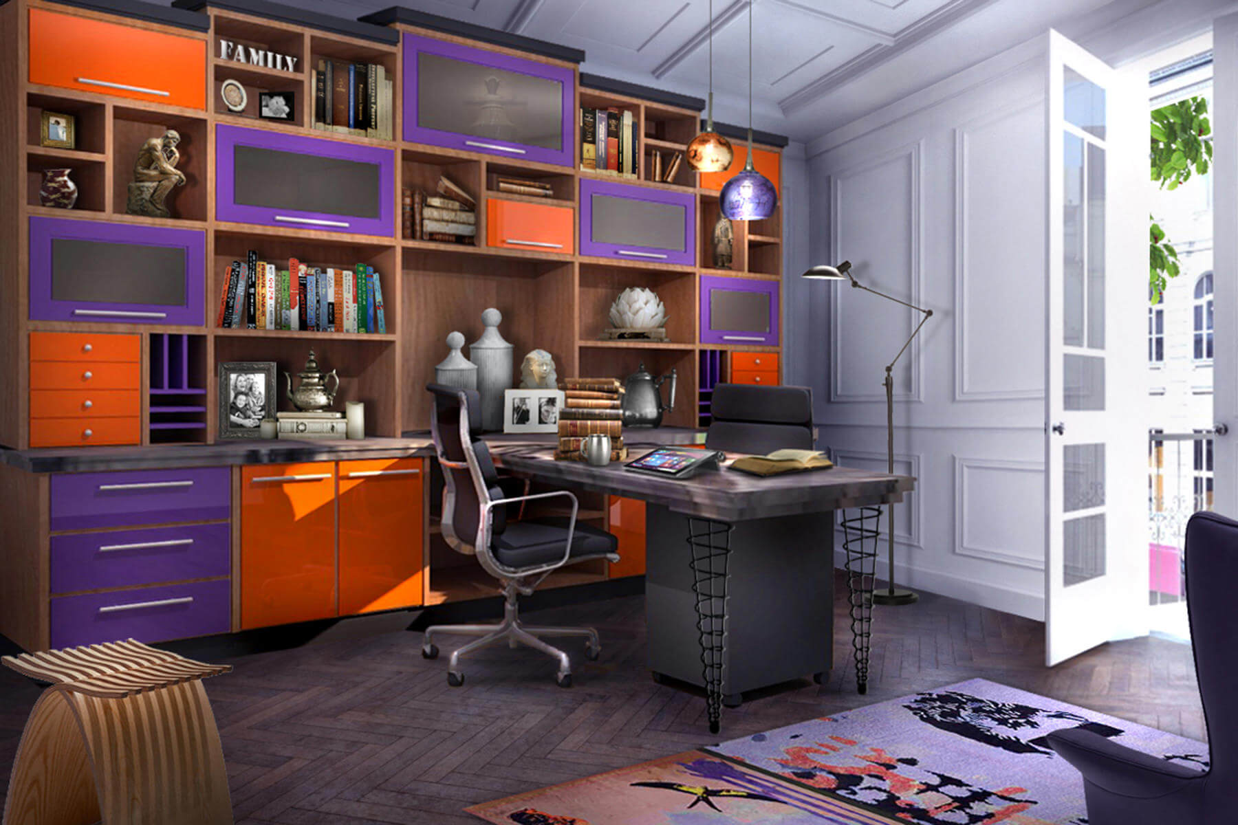 Colorful Modern Home Office