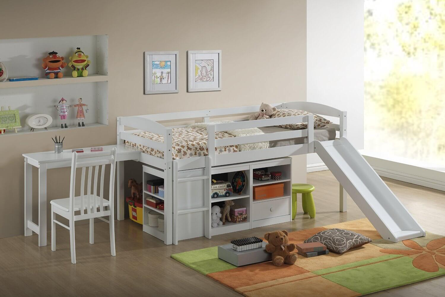 This loft bed is the ultimate solution if you're looking for a functional bed and to maximize space. The study table is conveniently attached to the loft bed and there is plenty of storage room below the bed to place favorite study books and toys.