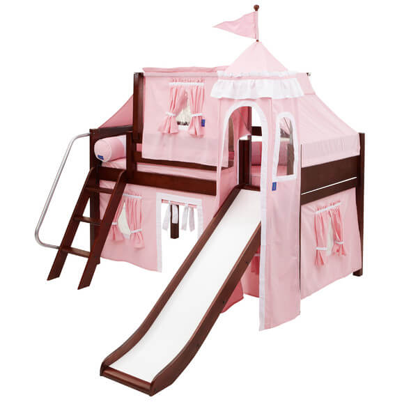 This is designed to be a complete bedroom system where your child can sleep, play, study, and grow in. It also comes with a fashionable tower, slide, and castle tent to make your little darling feel like a real princess.