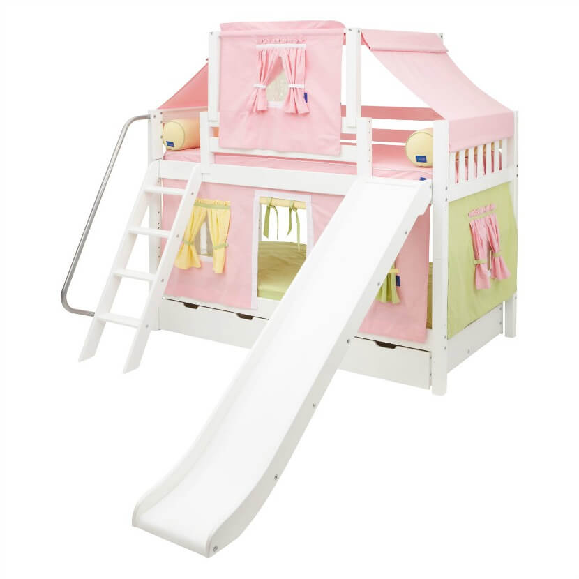 Loft Bed With Slide And Tent For Girl