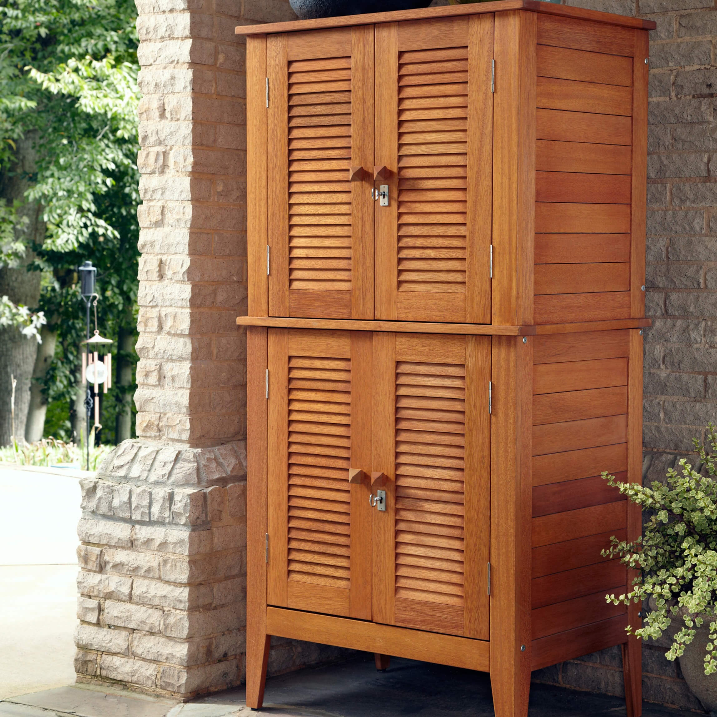 This beautiful and durable four-door storage cabinet is crafted out of  eco-friendly