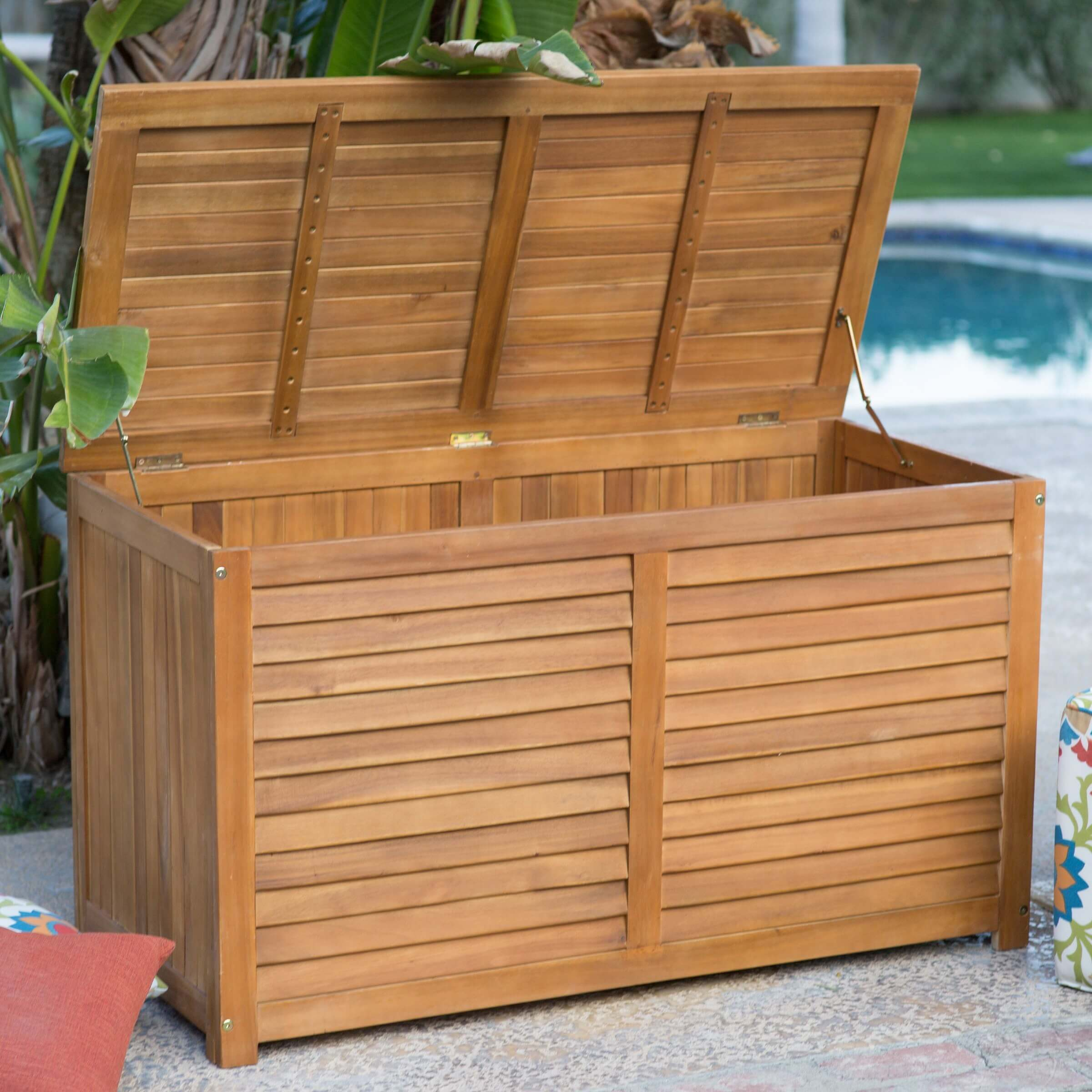 Designed with a slat construction for ventilation this acacia wood storage box has a natural & Top 10 Types of Outdoor Deck Storage Boxes