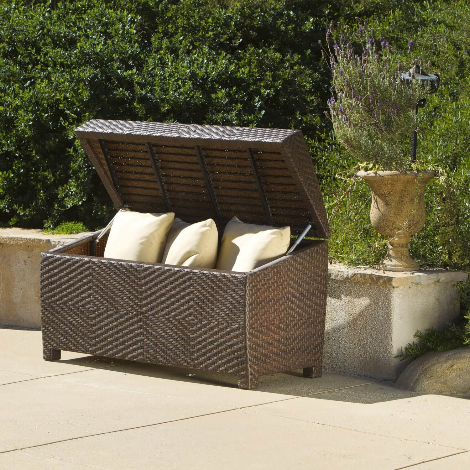 contemporary patio most pinterest on ideas for box decor pool best home storage cushion the intended bench garden