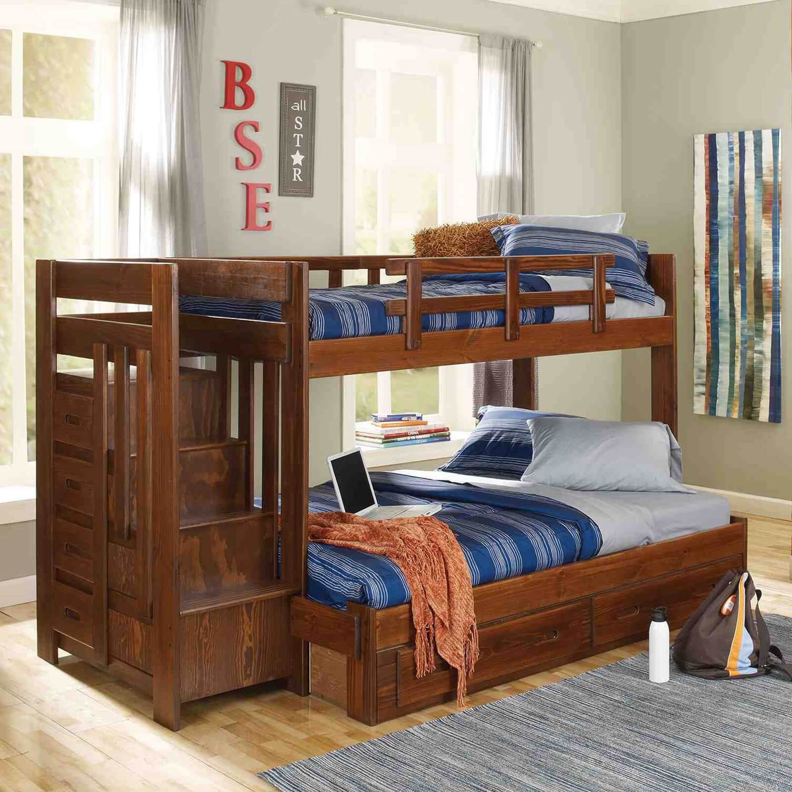 Advantages And Drawbacks Of Strong Wooden Loft Bed With Stairs Twin over Full Reversible Stair Bunk Bed
